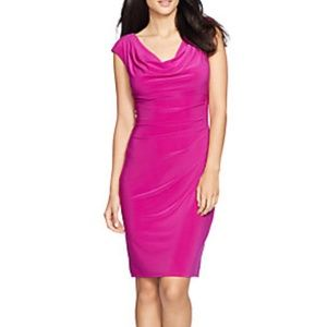 Lauren Ralph Lauren Rose Matte Cowl Neck Dress